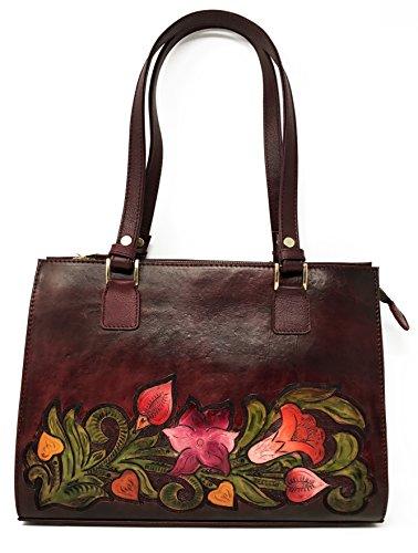 Mauzari Sayulita Designer Savannah Vintage Floral Artisan Hand Chiseled Hand Painted Leather Handmade Shoulder Handbag (Burgundy) by Mauzari Sayulita