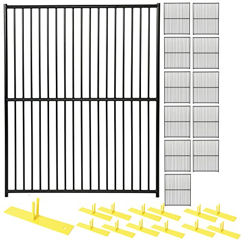 (Perimeter Patrol Heavy Duty Portable/Temporary Security Fence Pnael Kit - Safety Barrier for Protecting Property, Construction Sites and Crowd Control at Outdoor Events. 5'W x 6'H - 12 Panels - Black)