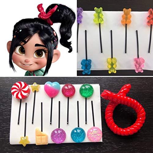 Glitter Style Vanellope Hair Clips - Vanellope Hair Candy - Vanellope costume, Vanellope Von Schweetz Hair Pins by Mikarya