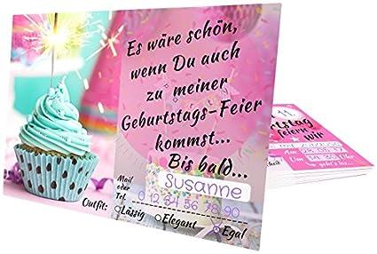 Einladungskarten Kindergeburtstag U2013 Mädchen Party U2013 Geburtstagskarte Mit  Glitzer Muffin U2013 Schicke Einladung Zum Kinder Geburtstag U2013 Jahre Und Text  Blanko ...