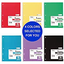 """Mead Spiral Notebooks, 1 Subject, Wide Ruled Paper, 70 Sheets, 10-1/2"""" x 7-1/2"""", Color Selected For You, 4 Pack (72873)"""
