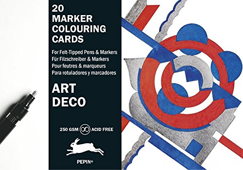 Art Deco: Marker Colouring Cards Book (English, Spanish, French and German Edition) by Pepin Press