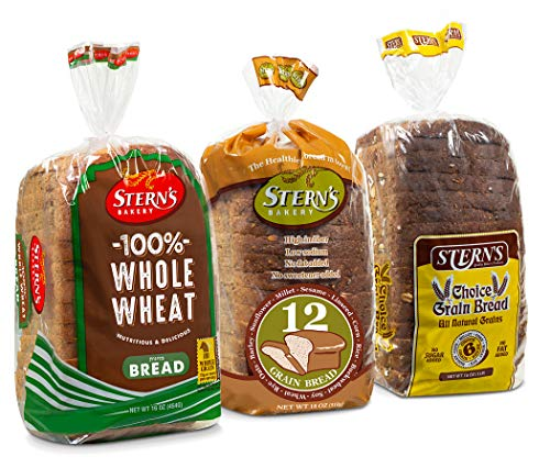 Whole Grain Bread | Sandwich Bread | 3 Flavor Variety Bundle | (1) 12 Grain Bread (1) 6 Grain Bread (1) 100% Whole Wheat Bread | 2-3 Day Shipping | 16 oz. consistent with Loaf - Stern's Bakery [ 3 Loaves of Bread Included ]
