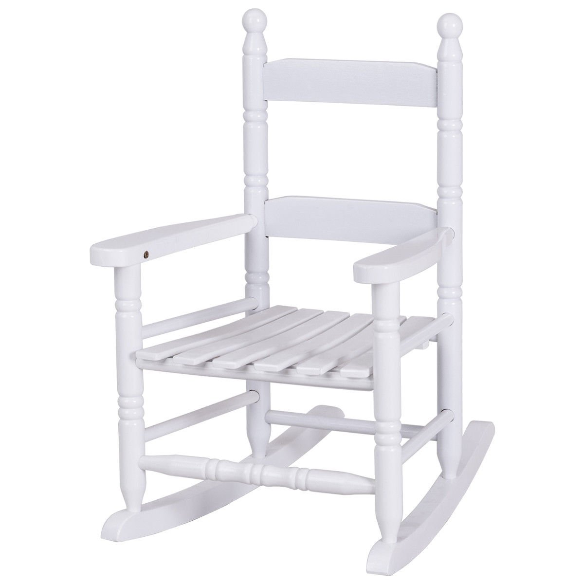 Child Rocking Chair Wooden Rocker for Aged 56-96 Months White by BWM.Co