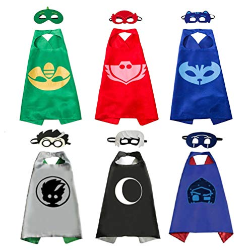 6 Sets Kids Masks Capes Superhero Costume Birthday Party Supplies for Girls Boys -