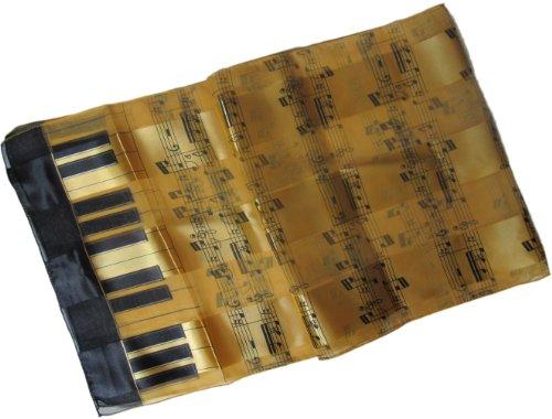 Satin Stripe Musical Instrument Scarf/Sash/Belt:Gold & Black Piano & Notes