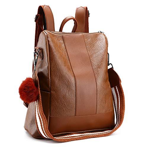 NaKita Women Travel Backpack Purse Waterproof Leather Shoulder Bag Anti-Theft Lightweight School Bag for Girl & Ladies, Brown