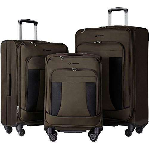 Travelhouse 3 Piece Luggage Set Softshell Deluxe Expandable Spinner Suitcase(Brownish Green and Black) by Merax