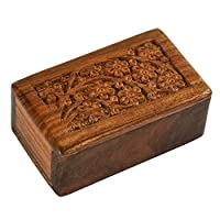 Fine Craft India Wooden Human Funeral Cremation Pet Ashes Urn with Tree of Life Design Engraving Small Urn 5x3x2 in