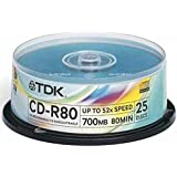 TDK CD-R Velocidad 52x Tarrina 25 ud. 700 MB 80 Minutos (Tarrina)