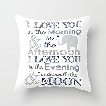 "Decorative Pillow Case Elephant Nursery Print Cushion Cover 18"" x 18"""