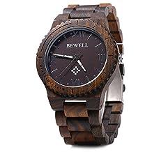 Bewell Wood Men Quartz Watch Roman Numeral Scales EBONY WOOD