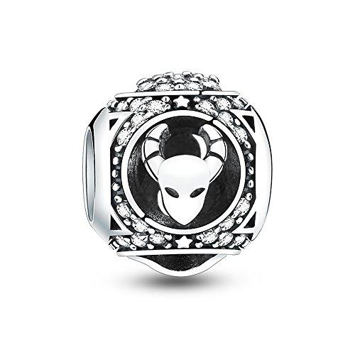 Glamulet Art - Taurus Charm -- 925 Sterling Silver -- Fits Pandora Bracelet