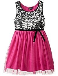 Big Girls' Sequin Bodiced Dress with Ribbon Belt