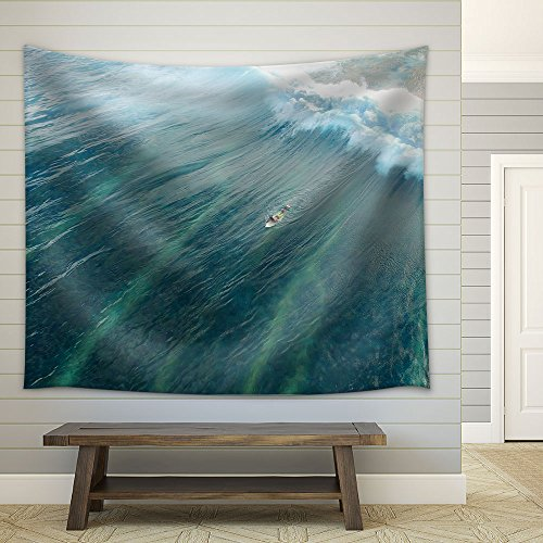 Man on Surfboard in Blue Ocean with Wave Fabric Wall