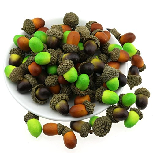 Gresorth 60pcs Mixed Color Artificial Acorn Green Brown Retro Fake Acorns Home Fruit Kitchen Party Decoration