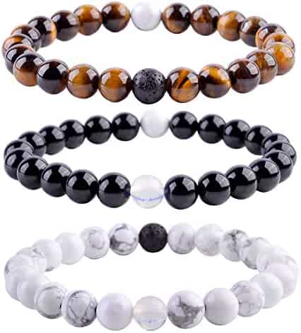 Top Plaza Unisex 8mm Agate Opalite Tiger Eye's Stone Beaded Bracelet, Healing Energy Balance Beads, 6-7 Inches