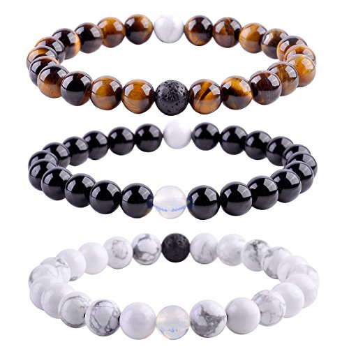 Top Plaza Unisex 8mm Agate Opalite Tiger Eye's Stone Beaded Bracelet, Healing Energy Balance Beads, 6-7 Inches(Pack of 3)