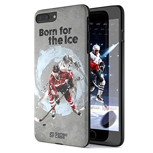 iPhone 7 Plus Case, Born For Hockey. Sensocase Premium Extreme Sports Unique Designer Tough Shell Thin Cover. Luxury, Anti-Fingerprint, Anti-Scratch Stylish Slim Protective Apple 7 Plus.