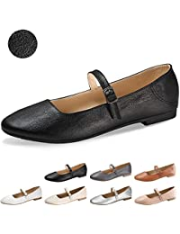 Flats Mary Jane Shoes Women's Casual Comfortable Walking Buckle Classic Ankle Strap Style Ballet Slip On