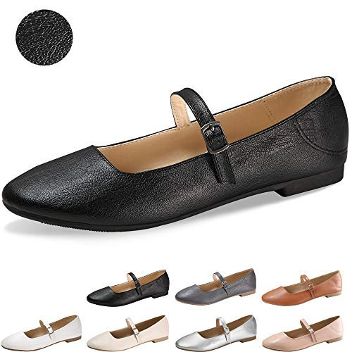 CINAK Flats Mary Jane Shoes Women's Casual Comfortable Walking Buckle Ankle Strap Fashion Slip On(9-9.5 B(M) US/ CN41 / 10'', Black)