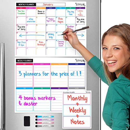 STYLIO Dry Erase Calendar Whiteboard. Set of 3 Magnetic Calendars for Refrigerator: Monthly, Weekly Organizer & Daily Notepad. Wall & Fridge Family Calendar. 4 Fine Point Markers & Eraser Included (Daily Calendar Whiteboard)