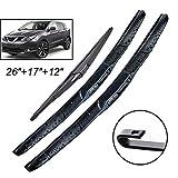 Nissan Qashqai Wiper Blades - Xukey Front + Rear Windshield Wiper Blades Set Fit For Nissan Qashqai J11 2013-2018 (Set of 3)