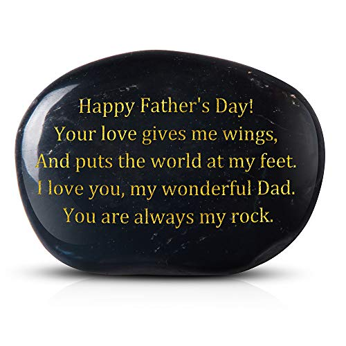Brital Engraved Rock Gift from Son or Daughter Happy Father's Day! Your Love Gives me Wings, and Puts The World at My feet. I Love You, My Wonderful Dad. You - Everlasting Keepsakes