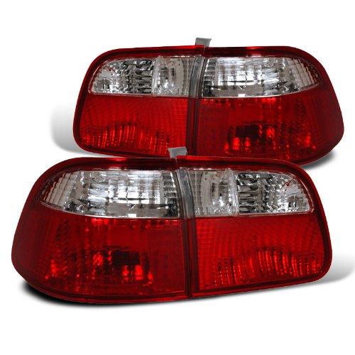 Spec-D Tuning LT-CV994RPW-DP Honda Civic 4Dr Lx Ex Red/Clear Tail Lights