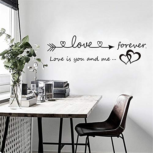Quaanti Love is You and Me Words Love Heart Home Bedroom Decor Wall Sticker Friend Student Gifts School Office Mural (Black) by Quaanti (Image #2)