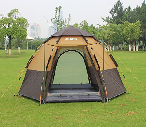 Versatile and Spacious - Boasting an incredible footprint of at least 8 by 9 foot this one-touch tent is designed to accommodate three or four adults ... & FUNS 8 by 9 ft One Touch Automatic Hexagon Pop Up Camping Gazebo ...