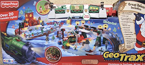 - GEOTRAX Geo Trax REMOTE CONTROL Train CHRISTMAS in TOYTOWN Toy Town TRAIN Set w LIGHTS, SOUNDS, Figures, STATION & More TOYS