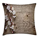 Ambesonne Rustic Home Decor Throw Pillow Cushion Cover by, Romantic Spring Cherry Blossom Branch over Old Table Love Valentines, Decorative Square Accent Pillow Case, 18 X 18 Inches, Brown White