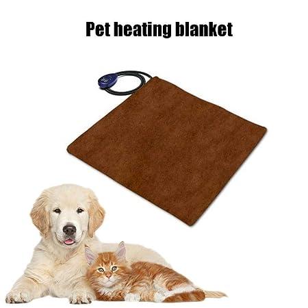 AOLVO Manta Eléctrica Impermeable Estera de Calefacción para Mascotas, Almohadilla de Calentamiento para Perros y Gatos con Temperatura Ajustable 25-55 ...
