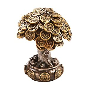 Feng Shui Bronze Golden Money Coin Prosperity Tree Home Decoration Gift
