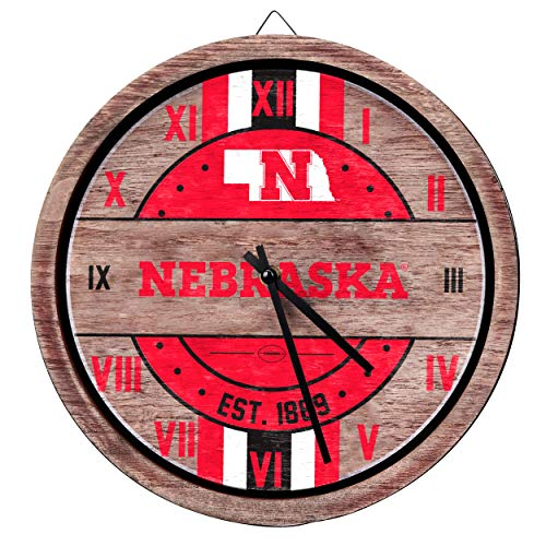 FOCO NCAA Nebraska Cornhuskers Team Logo Wood Barrel Wall ClockTeam Logo Wood Barrel Wall Clock, Team Color, One -