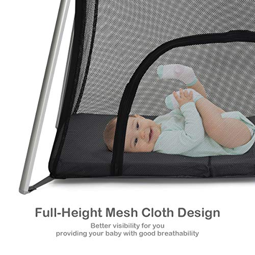 51yumcO sKL - BABY JOY Baby Foldable Travel Crib, 2 In 1 Portable Playpen With Soft Washable Mattress, Side Zipper Design, Lightweight Installation-Free Home Playard With Carry Bag, For Infants & Toddlers (Grey)