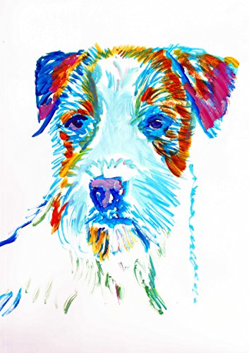 Jack Russell Art, JRT Nursery Art, Colorful long-haired JRT Pop Art Print, Gift for Jack Russell Owner, JRT Mom, Jack Russell Decor, Colorful Jack Russell Dog Watercolor Painting by Oscar Jetson