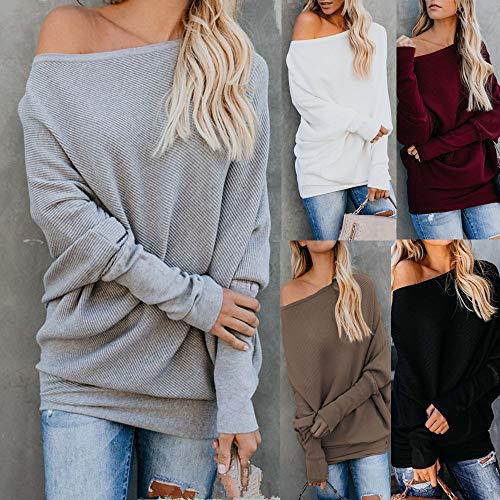 Para Suelto Camisetas Suéter Jumper Punto Jersey Café Invierno Pull Off Suéteres over Mymyg Blusa De Mujer shoulder Otoño Color Sólido WUzYOw4qw