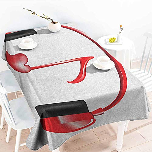 EwaskyOnline Tablecloth for Kids/Childrens,Music Love Sound Headphones with Heart Shaped Key Note Symbol Melody Artistic Design,Resistant/Spill-Proof/Waterproof Table Cover,W60X102L, Red Black Grey