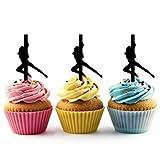 TA0117 Sexy Girl Pole Dance Silhouette Party Wedding Birthday Acrylic Cupcake Toppers Decor 10 pcs
