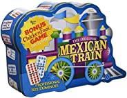 Puremco Mexican Train Double 12 Professional Size Dominoes with Bonus Chickenfoot Game Included Travel Tin Board Game, 91 Ti