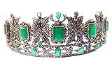 Ankita Gemstones Wedding Tiara 13.12ctw Rose Cut Diamond Emerald 925 Sterling Silver Tiara/Crown