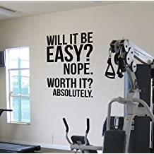 Worth It? Gym Motivational Wall Decal Quote Running Fitness Health