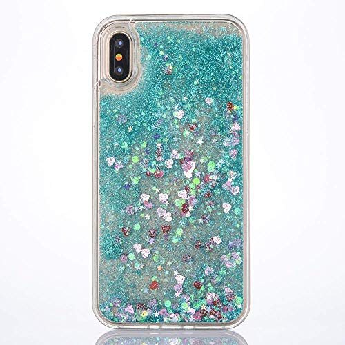 Blue Glitter Heart (Shopping_Shop2000 Sparkly Bling Love Heart and Glitter Flowing Liquid Water Aqua Movable Dynamic Quicksand TPU Soft Bumper Cover Case Compatible with iPhone Xs Max 6.5