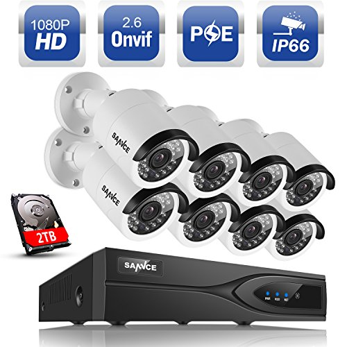 SANNCE 8 Channel 1080p HDMI NVR Security Systems True PoE 8x