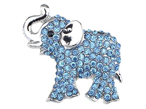 - Alilang Austrian Ice Blue Crystal Rhinestone Silvery Tone Baby Trunk Elephant Pin Brooch