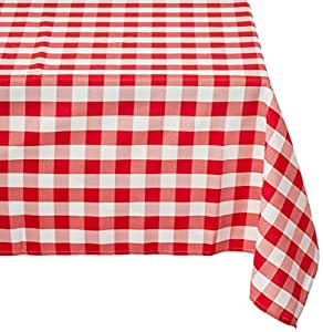 Red and white strip tablecloth