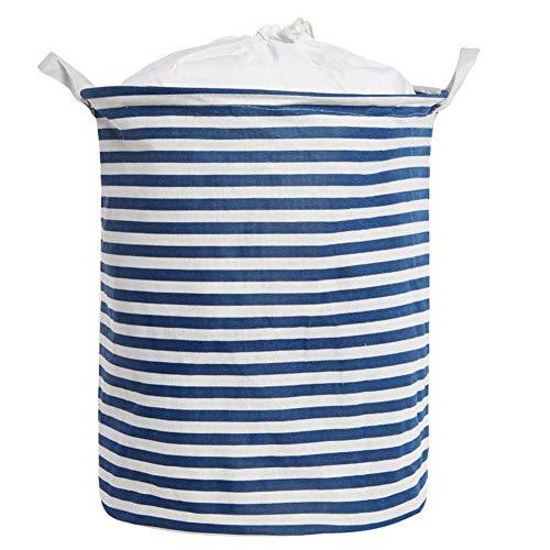 Large Size Laundry Hamper Storage Basket with Waterproof of Coating Canvas Fabric Kids Storage Bins (Blue)