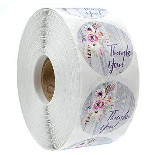 Bohemian Floral Thank You Stickers - 1.5 Circle Labels / 1000 per Pack Rustic Chic Thank Yous
